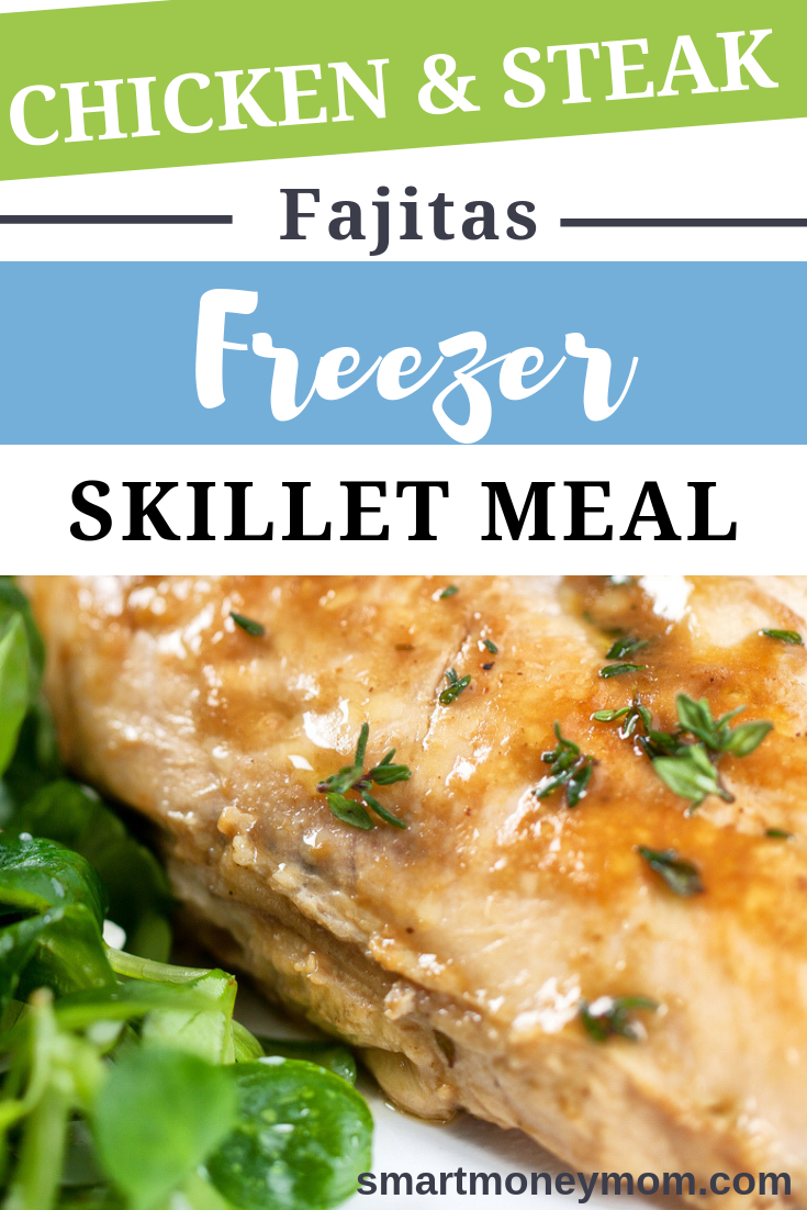 Are you and your family torn on steak or tasty chicken fajitas? Well of course you can have both-even in a simple freezer skillet meal. Check out this chicken recipe fajitas for you! #chickensteak #chickensteakfajitas #chickensteakrecipe #chickensteakfajitasrecipe #chickenrecipeideas